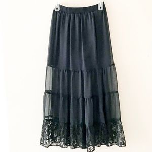 Sheer Black Lace Maxi Skirt